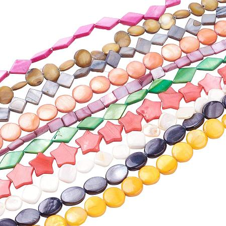 Arricraft 20 Stands 520pcs Mixed Shape Freshwater Shell Beads Strands Seashells Gemstone Beads for Necklace, Bracelet, Jewelry Making, Home and Wedding Decor (15