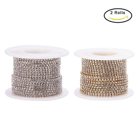 BENECREAT 2 Rolls 2mm Crystal Rhinestone Close Chain Clear Trimming Claw Chain Sewing Craft Silver & Gold, about 10yards/roll