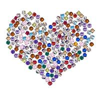 ARRICRAFT 200Pcs Acrylic Rhinestone Monte Brass Findings Five-Hole Beads Size 5x5x4mm Mixed Color