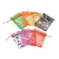 NBEADS 200PCS Organza Bags, Mixed Color, 9~10x11~12cm