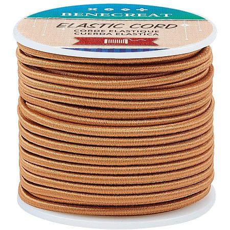 BENECREAT 3mm Brown Elastic Cord 20m/21 Yard Stretch Thread Beading Cord Fabric Crafting String Rope for DIY Crafts Bracelets Necklaces