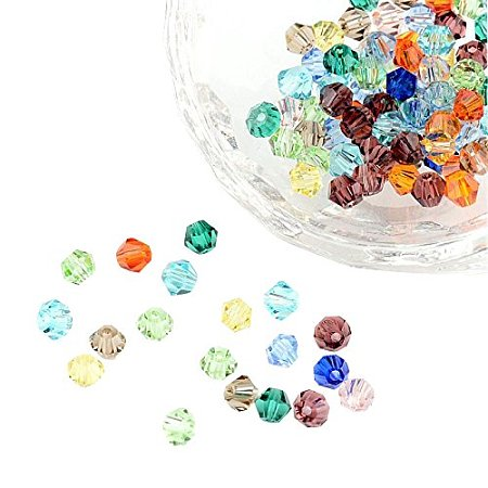 ARRICRAFT 100pcs Mixed Color Bicone Faceted Glass Crystal Spacer Beads 4mm, Hole: 1mm