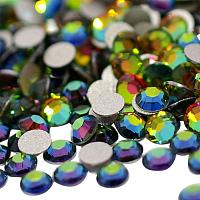 NBEADS About 288pcs/bag AB Color Half Round Crystal Vitrail Medium Back Plated Faceted Flat Back Rhinestone, Grade A 6.3~6.5mm