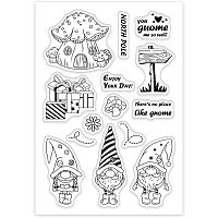GLOBLELAND Gnome Clear Stamps Silicone Transparent Stamps for Card Making Decoration and DIY Scrapbooking