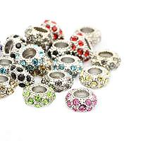 NBEADS 20 Pcs Random Mixed Color Platinum Tone Alloy Grade A Rhinestone European Beads Large Hole Rondelle Bracelet Charms