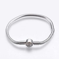 """UNICRAFTALE 1pc 6-1/4"""" Stainless Steel Round Snake Chains Bracelet with European Clasps Silver Tone Ball European Style Chains for Wristhand Jewelry Making"""
