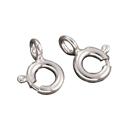 Arricraft 10PCS Platinum Plated Sterling Silver Spring Clasps for Jewelry Making, 8x6x3mm, Hole: 1.5mm