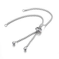 Adjustable 304 Stainless Steel Bracelet Making, Slider Bracelets, for DIY Jewelry Craft Supplies, Stainless Steel Color, 9-1/2 inches(24cm), Hole: 2.5~3mm; Single Chain Length: about 12cm