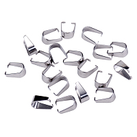 PandaHall Elite 10x8mm 304 Stainless Steel Pinch Bails Dangle Charms Jewelry Findings, about 20pcs/bag