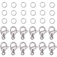 PandaHall Elite 300 pcs 5mm 20 Gauge 304 Stainless Steel Jump Rings with 100pcs Lobster Claw Clasps for Earring Bracelet Necklace Pendants Jewelry DIY Craft Making, Stainless Steel Color