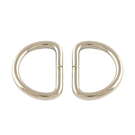 NBEADS 500 Pcs Iron D Rings, Buckle Clasps, For Webbing, Strapping Bags, Garment Accessories, Platinum, 17.5x13x2mm