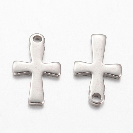 304 Stainless Steel Pendants, Cross, Stainless Steel Color, 12x7x1mm, Hole: 1mm