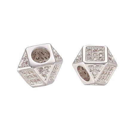 ARRICRAFT Brass Micro Pave Cubic Zirconia Beads for Jewelry Making, Rhombus, Platinum, 7x7x7mm, Hole: 3.5mm