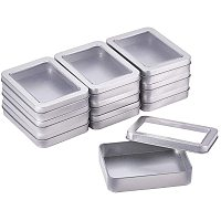 BENECREAT 10 Pack 4.5x3.5 Rectangle Metal Tin Cans Platinum Tin-Plated Box with Large Clear Window for Gifts Party Favors and Other Accessories