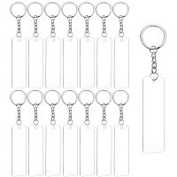 BENECREAT 15PCS Acrylic Key ring Blanks 3x1 Inch Rectangle Acrylic Clear Keychain Blanks with 20PCS Jump Rings, 1PC Storage Box for DIY Projects and Crafts