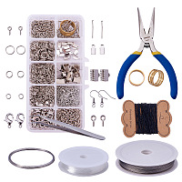 PandaHall Elite Jewelry Making Kit Jewelry Findings Starter Kit Jewelry Beading Making and Repair Tools Kit Jewelry Findings Accessories Pliers Wire Starter Tool, Platinum