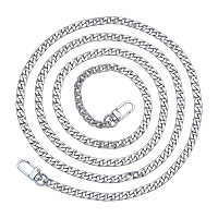PandaHall Elite 1 Pack 47.2 Inches Iron Flat Chain Strap Handbag Chains Accessories Purse Straps Shoulder Cross Body Replacement Straps with 2 Pieces Swivel Buckles Platinum