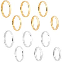 UNICRAFTALE About 12pcs Size 5/6/7/8/9/10 Stainless Steel Finger Ring Golden & Stainless Steel Color Flat Plain Band Rings Knuckle Finger for Unique Wedding Engagement Anniversary 3mm Wide
