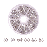 PandaHall Elite 1Box About 60 Pcs Cubic Zirconia Alloy Charms Sets in 6 Styles for Jewelry Making Size 10-15mm Length in Platinum