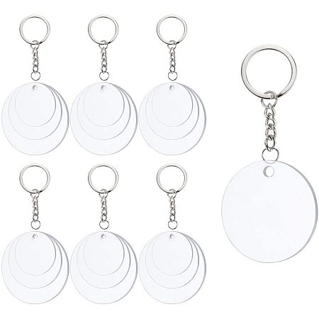BENECREAT 22PCS Acrylic Keyring Blanks 1.5/2/2.5 Inch Diameter Flat Round Acrylic Clear Keychain Blanks with 30PCS Jump Rings for DIY Projects and Crafts