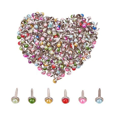 PandaHall Elite 300pcs Mixed Color Pearl Mini Brads Fasteners Metal Paper Fasteners Iron Plated Scrapbooking Brads for Crafts Making DIY