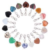 PandaHall Elite 18pcs Heart Quartz Gemstone Healing Chakra Stone Charm Pendants with Brass Lobster Claw Clasps for Necklace Jewelry Making