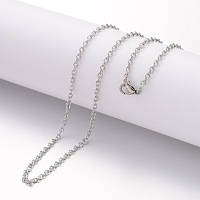 304 Stainless Steel Necklace Making, Cable Chains, with Lobster Clasps, Stainless Steel Color, 23.6 inches(600mm); 2.3mm