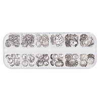 PandaHall Elite 230 PCS 12 Style 304 Stainless Steel Bead Caps Flower Jewelry Findings Accessories for Bracelet Necklace Jewelry Making