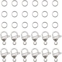 PandaHall Elite 120 pcs 7mm 304 Stainless Steel Jump Rings with 60pcs Lobster Claw Clasps for Earring Bracelet Necklace Pendants Jewelry DIY Craft Making, Stainless Steel Color