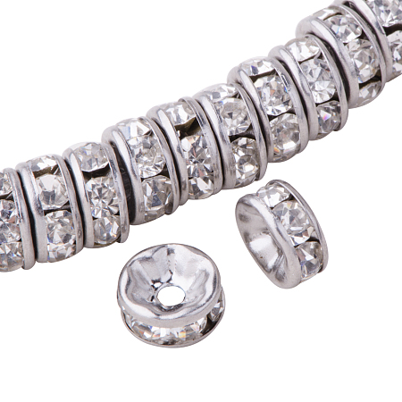PandaHall Elite Flat Round 316 Stainless Steel Crystal Rhinestone Bead Spacers Size 8x4mm, about 20pcs/bag