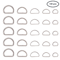 PandaHall Elite About 140 Pcs Iron Non Welded D Rings 5 Sizes for Handbag Belts Bags Leather craft Key Ring 1/2 Inch 3/5 Inch 17/25 Inch 3/4 Inch 1 Inch Platinum