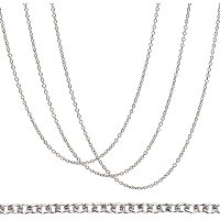 BENECREAT 30 Strands 18 Inches 304 Stainless Steel Link Cable Chains 1.5mm Silver Necklace Chains with Spring Clasps and Clear Plastic Box for Jewelry Making