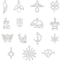 NBEADS 15 Pcs Stainless Steel Pendants, Mixed Shapes Metal Pendants for Necklace Bracelet Jewelry Making