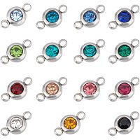 UNICRAFTALE About 30pcs Mixed Color Stainless Steel Rhinestone Link Connectors Flat Round Linking Pendant 12mm Long Stainless Steel Color Linking Charm Connectors for Jewelry Making 2mm Hole
