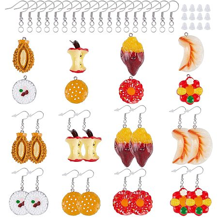 NBEADS 32 Sets Polymer Clay Charms, Imitation Food Polymer Clay Cabochons with Earring Hooks and Ear Nuts for Earring Makings
