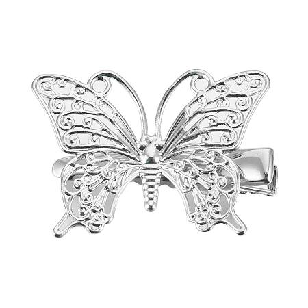PandaHall Elite 20 pcs Iron Alligator Hair Clip Findings with Butterfly Hair Clip for Women, Platinum