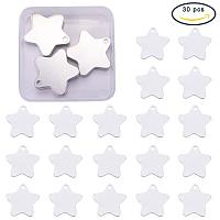 BENECREAT 30 Pack Stamping Blanks Aluminum Blank Pendants for Bracelet Earring Pendant Charms Dog Tags - 1.4x1.4, Star Shape
