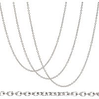 BENECREAT 30 Strands 20 Inches 304 Stainless Steel Link Cable Chains 1.5mm Silver Necklace Chains with Spring Clasps and Clear Plastic Box for Jewelry Making