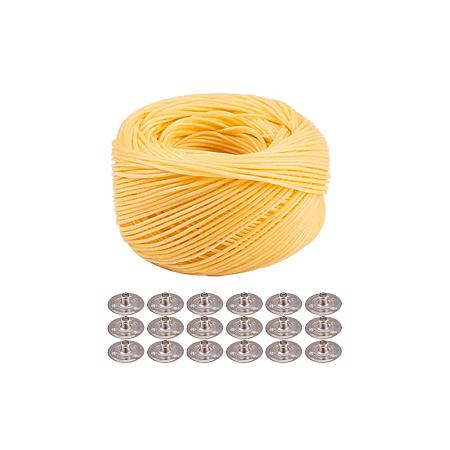 PandaHall Elite 200ft Beeswax Hemp Wick Organic Hemp Wick Line Candle Wick with 100pcs Platinum Candle Wick Sustainer Tabs for Candle Making Candle DIY, 1.2mm