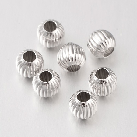 PandaHall Elite 925 Sterling Silver Corrugated Round 6mm Spacer Beads for Jewelry Findings