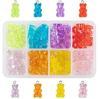 NBEADS 80 Pcs Cartoon Bear Candy Charms Resin Pendants, 8 Assorted Colors Gummy Bear Candy Charms Cute Resin Cartoon Bear Pendants for DIY Craft Necklace Keychain Earring Jewelry Making