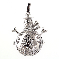 Arricraft Rack Plating Brass Cage Pendants, For Chime Ball Pendant Necklaces Making, Hollow Christmas Snowman, Platinum, 46x35x21mm, Hole: 3x6mm; inner measure: 22mm