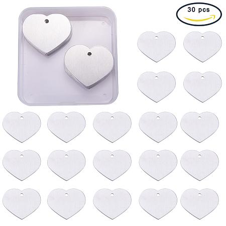 BENECREAT 30 Pack Stamping Blanks Aluminum Blank Pendants for Bracelet Earring Pendant Charms Dog Tags - 1.49x1, Heart Shape