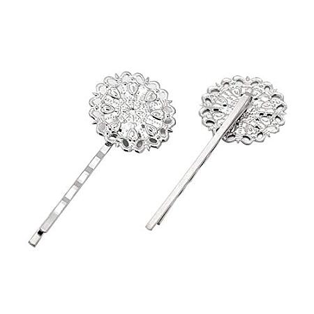 ARRICRAFT 10 pcs Iron Hair Bobby Pin with 25mm Flat Round Cabochon Bezel DIY Hair Clips Hairpins Barrettes Clamps for Women, Platinum