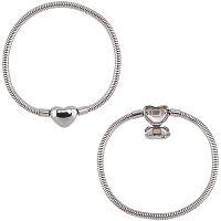 UNICRAFTALE About 7-1/8inches(18cm) 2pcs European Chains Bracelets Hypoallergenic Bracelets with Clasp Stainless Steel Bracelets 3mm Stainless Steel Color