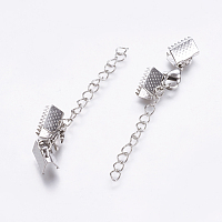 ARRICRAFT 50 Sets 304 Stainless Steel Ribbon Bookmark Pinch Crimp Clamp Cord Ends Fit Leather 10mm with Lobster Claw Clasps and Extension Chain Length 35mm for Jewelry Making