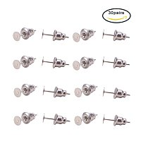 Pandahall Elite 304 Stainless Steel Earring Findings Sets With Earnuts & Ear Stud Components for Earring Making