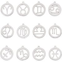 UNICRAFTALE 24pcs Ring with Zodiac Sign Charms Stainless Steel Pendants Round with 12 Constellations Pendant 1.4mm Hole Charms for Jewelry Making, Stainless Steel Color 2pcs/Style