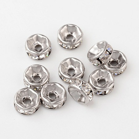ARRICRAFT 10Pcs 316 Stainless Steel Spacer Beads with Rhinestone for Craft Making Size 6x3mm