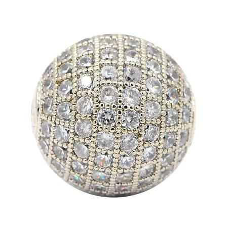 NBEADS 10 Pcs 12mm Platinum Color Clear Crystal Cubic Zirconia Micro Pave Disco Ball Beads Brass Round Loose Beads Spacer Charms Beads for Jewelry Making